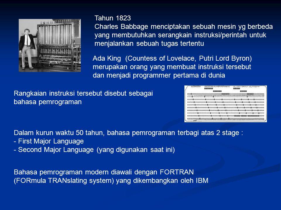 Tahun 1823 Charles Babbage menciptakan sebuah mesin yg berbeda yang membutuhkan serangkain instruksi/perintah untuk menjalankan sebuah tugas tertentu