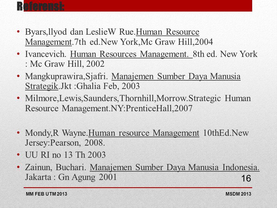 Referensi: Byars,llyod dan LeslieW Rue.Human Resource Management.7th ed.New York,Mc Graw Hill,2004 Ivancevich. Human Resources Management. 8th ed. New