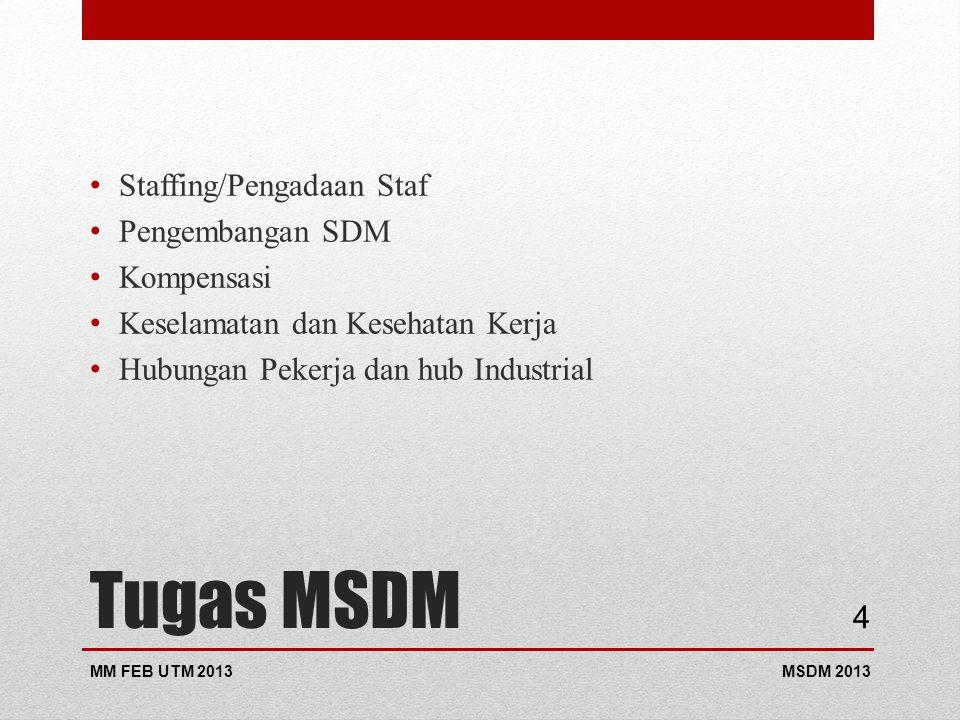 Tugas MSDM Staffing/Pengadaan Staf Pengembangan SDM Kompensasi Keselamatan dan Kesehatan Kerja Hubungan Pekerja dan hub Industrial MSDM 2013MM FEB UTM 2013 4