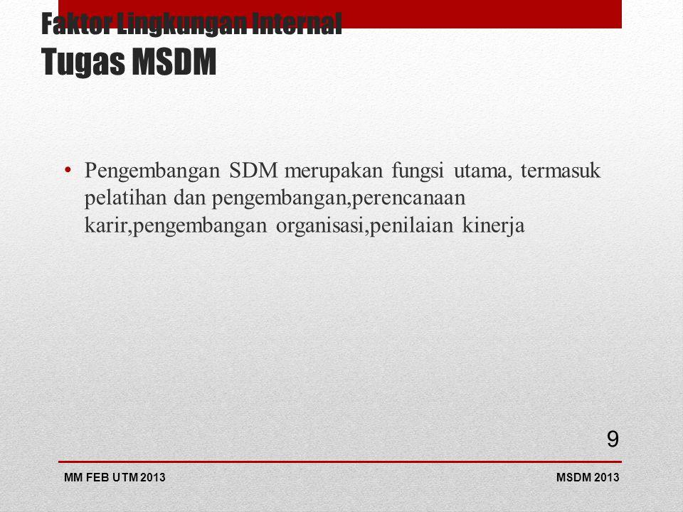 Faktor Lingkungan Internal Tugas MSDM Pengembangan SDM merupakan fungsi utama, termasuk pelatihan dan pengembangan,perencanaan karir,pengembangan organisasi,penilaian kinerja MSDM 2013MM FEB UTM 2013 9