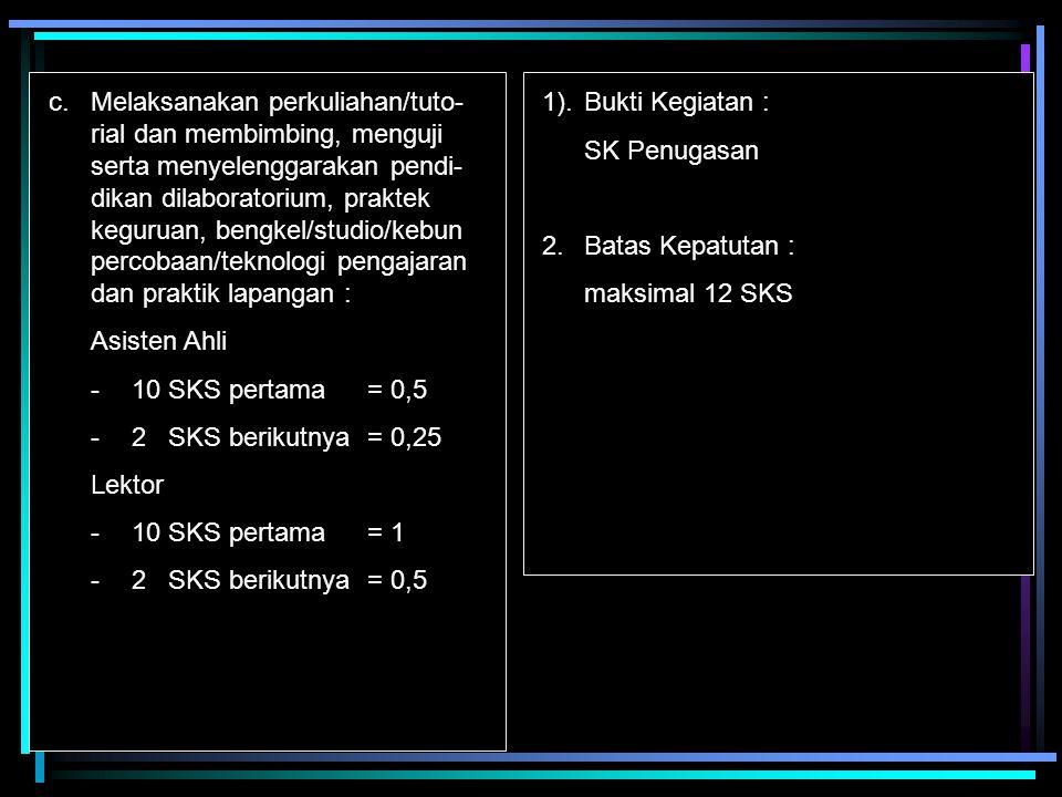 d.Membimbing seminar mahasiswa Kriteria : -dlm rangka studi akhir -tdk tergantung jumlah mhs.
