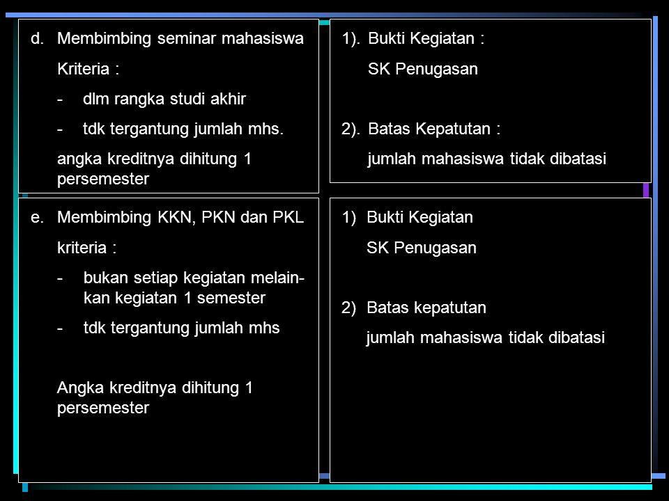 b.Menerjemahkan/menyadur buku ilmiah = 15 Kriteria : -menterjemah/menyadur buku ilmiah dalam bahasa asing ke bahasa indonesia atau sebaliknya -diterbitkan -diedarkan secara nasional 1.Kriteria hasil terjemahan dibuat dalam bentuk buku yang diterbitkan dan diedarkan scr nasional 2).Bukti Kegiatan : Buku hasil terjemahan/saduran 3)Batas Kepatutan : 1 buku persemester c.Mengedit/menyunting karya ilmiah = 10 Kriteria : -hasil editing karya ilmiah orang lain -untuk memudahkan pemahaman bagi pembaca -diterbitkan dalam bentuk buku -diedarkan secara nasional 1.Kriteria : hasil editing/suntingan dibuat dalam bentuk buku yg diterbitkan dan diedarkan secara nasional 2,Bukti kegiatan Buku hasil editing/suntingan 3Batas kepatutan 1 buku persemester