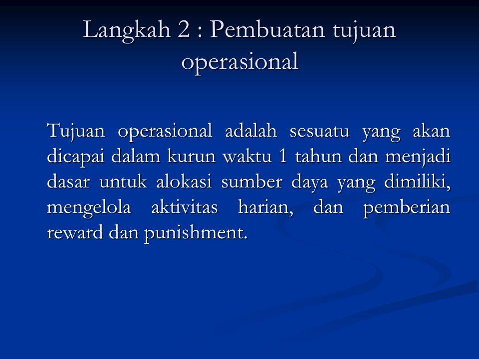 Langkah 2 : Pembuatan tujuan operasional Tujuan operasional adalah sesuatu yang akan dicapai dalam kurun waktu 1 tahun dan menjadi dasar untuk alokasi