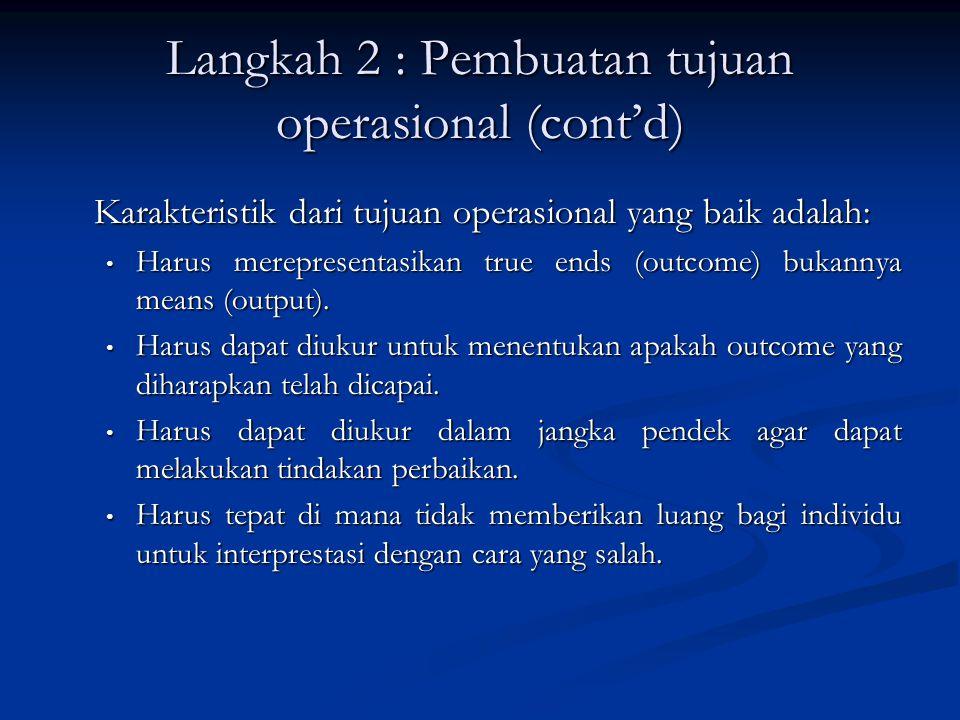 Langkah 2 : Pembuatan tujuan operasional (cont'd) Karakteristik dari tujuan operasional yang baik adalah: Harus merepresentasikan true ends (outcome)