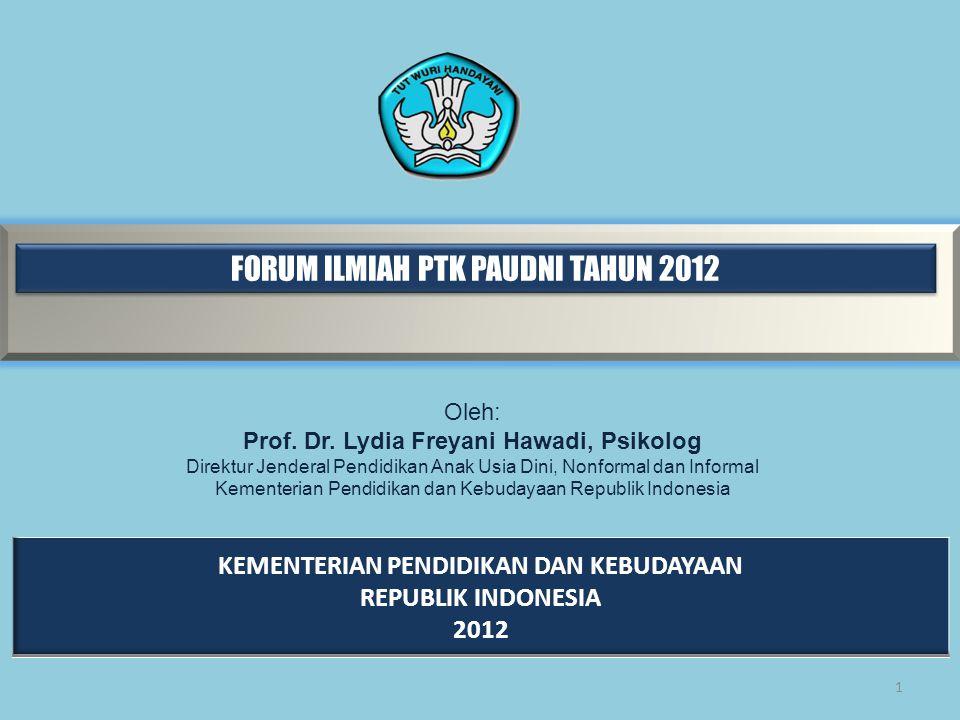 FORUM ILMIAH PTK PAUDNI TAHUN 2012 1 Oleh: Prof.Dr.