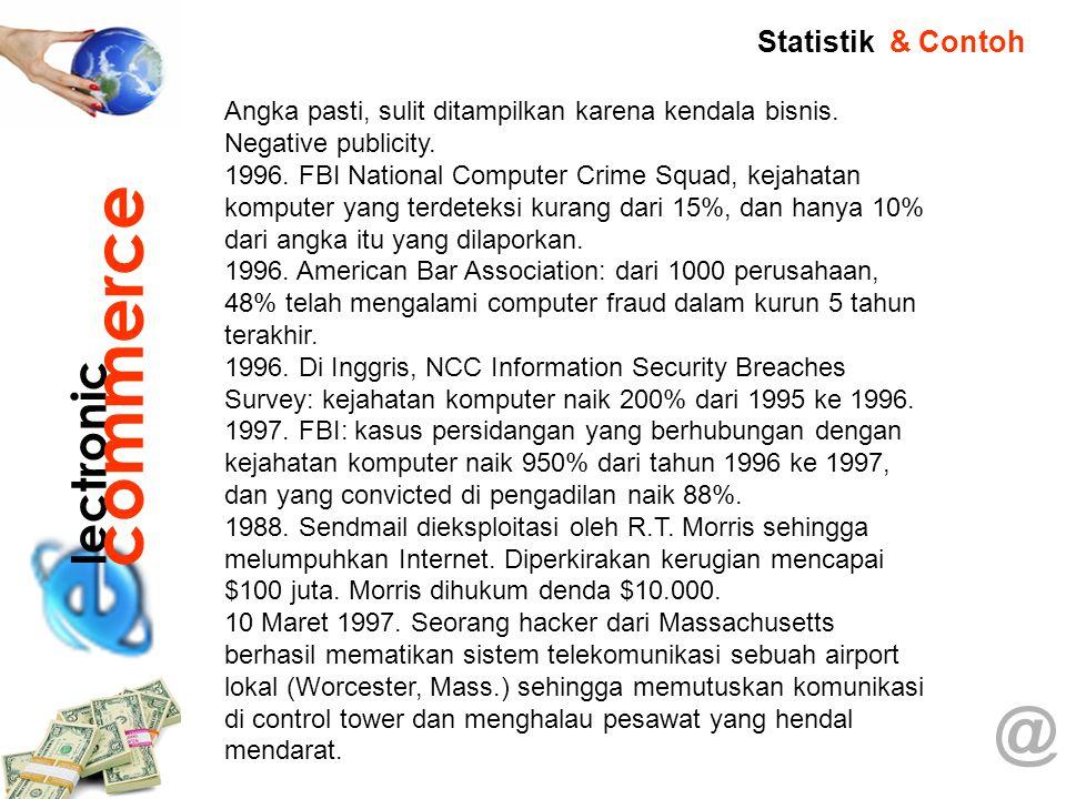 @ Angka pasti, sulit ditampilkan karena kendala bisnis. Negative publicity. 1996. FBI National Computer Crime Squad, kejahatan komputer yang terdeteks