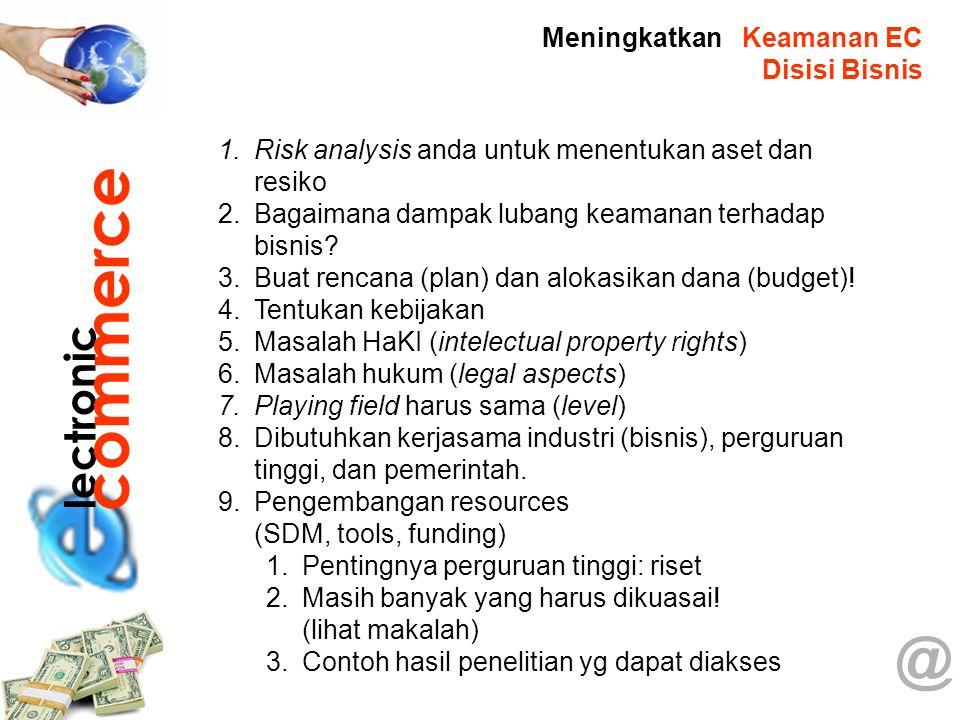 @ 1.Risk analysis anda untuk menentukan aset dan resiko 2.Bagaimana dampak lubang keamanan terhadap bisnis? 3.Buat rencana (plan) dan alokasikan dana