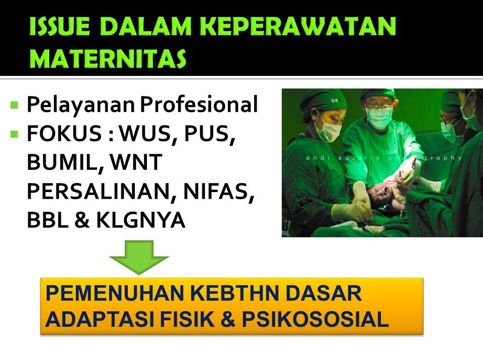 PEMENUHAN KEBTHN DASAR ADAPTASI FISIK & PSIKOSOSIAL PEMENUHAN KEBTHN DASAR ADAPTASI FISIK & PSIKOSOSIAL  Pelayanan Profesional  FOKUS : WUS, PUS, BU