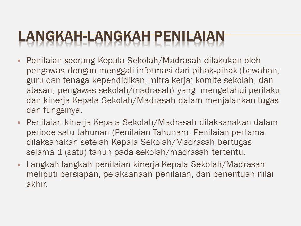 Penilaian seorang Kepala Sekolah/Madrasah dilakukan oleh pengawas dengan menggali informasi dari pihak-pihak (bawahan; guru dan tenaga kependidikan, m