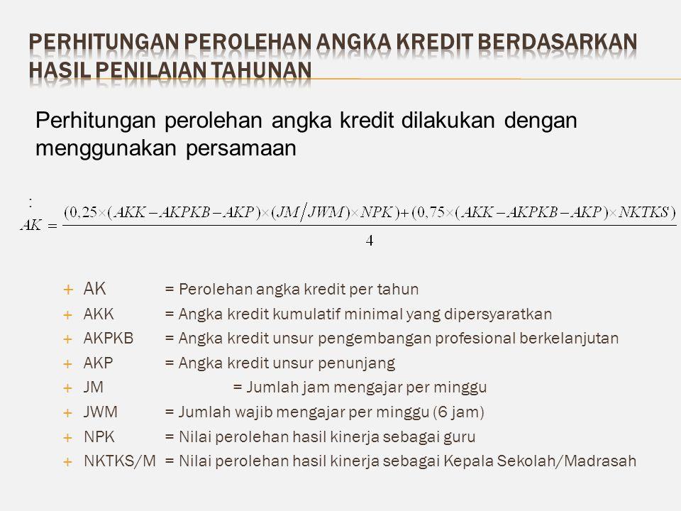 :  AK = Perolehan angka kredit per tahun  AKK= Angka kredit kumulatif minimal yang dipersyaratkan  AKPKB= Angka kredit unsur pengembangan profesion