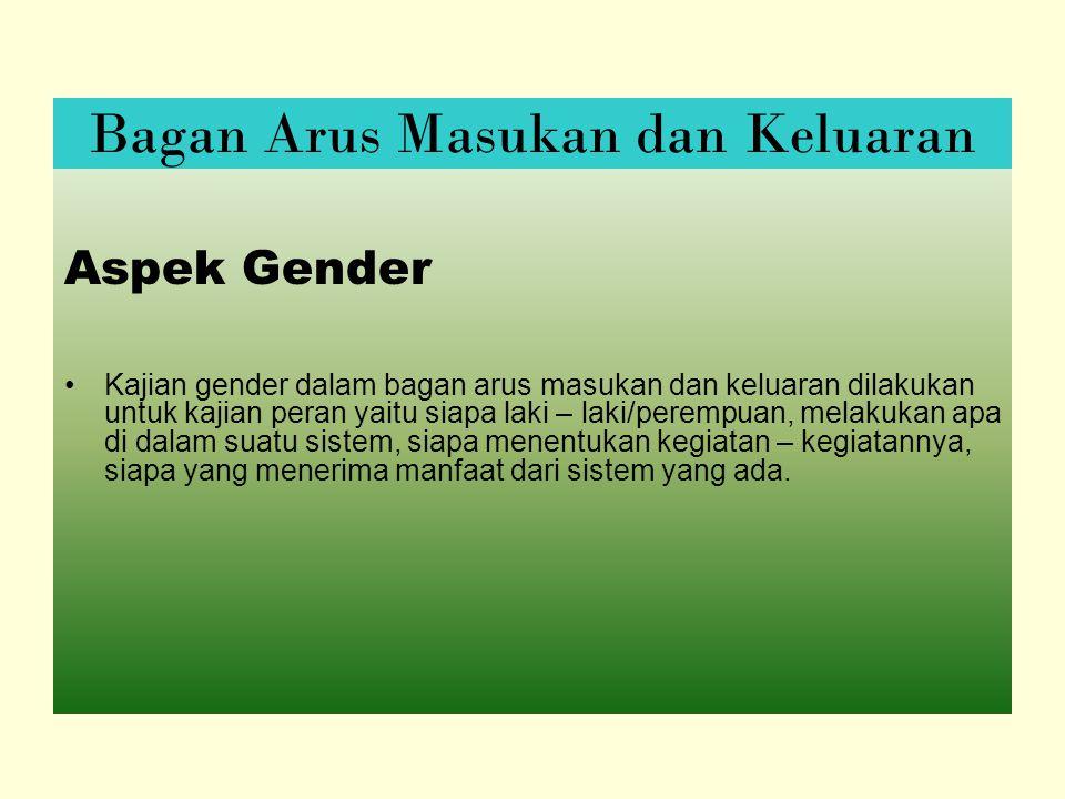 Aspek Gender Kajian gender dalam bagan arus masukan dan keluaran dilakukan untuk kajian peran yaitu siapa laki – laki/perempuan, melakukan apa di dalam suatu sistem, siapa menentukan kegiatan – kegiatannya, siapa yang menerima manfaat dari sistem yang ada.