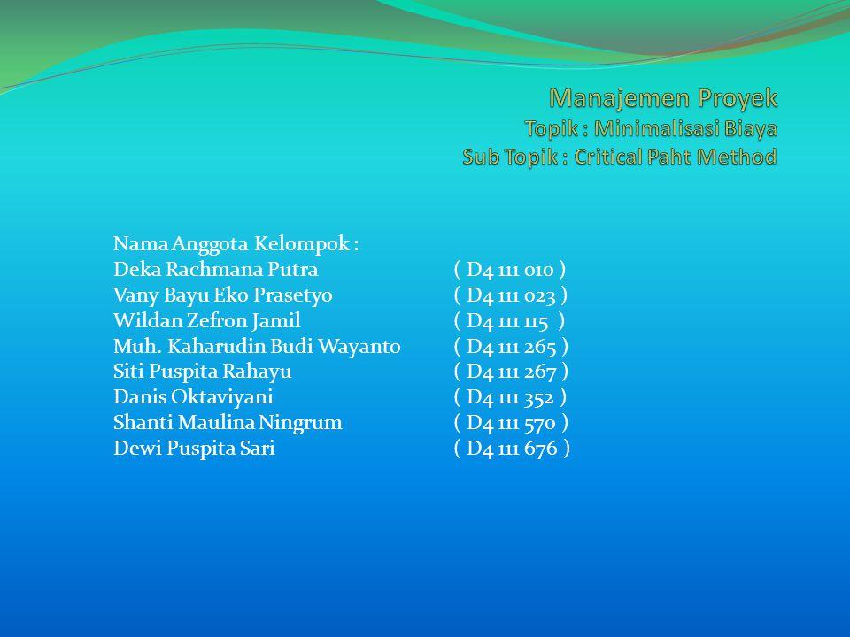 Nama Anggota Kelompok : Deka Rachmana Putra( D4 111 010 ) Vany Bayu Eko Prasetyo( D4 111 023 ) Wildan Zefron Jamil( D4 111 115 ) Muh.