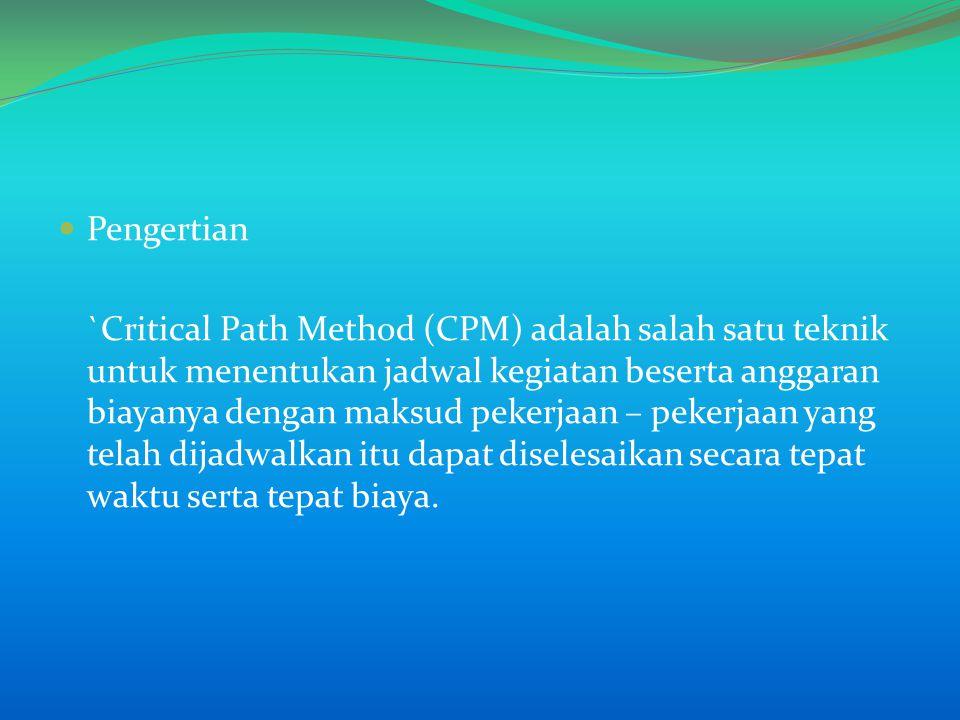 Pengertian `Critical Path Method (CPM) adalah salah satu teknik untuk menentukan jadwal kegiatan beserta anggaran biayanya dengan maksud pekerjaan – pekerjaan yang telah dijadwalkan itu dapat diselesaikan secara tepat waktu serta tepat biaya.