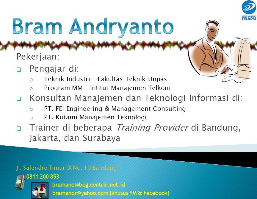 Bram Andryanto bramand@bdg.centrin.net.id Manajemen Bisnis Telekomunikasi dan Informatika Institut Manajemen Telkom 1 Proyek Manajemen