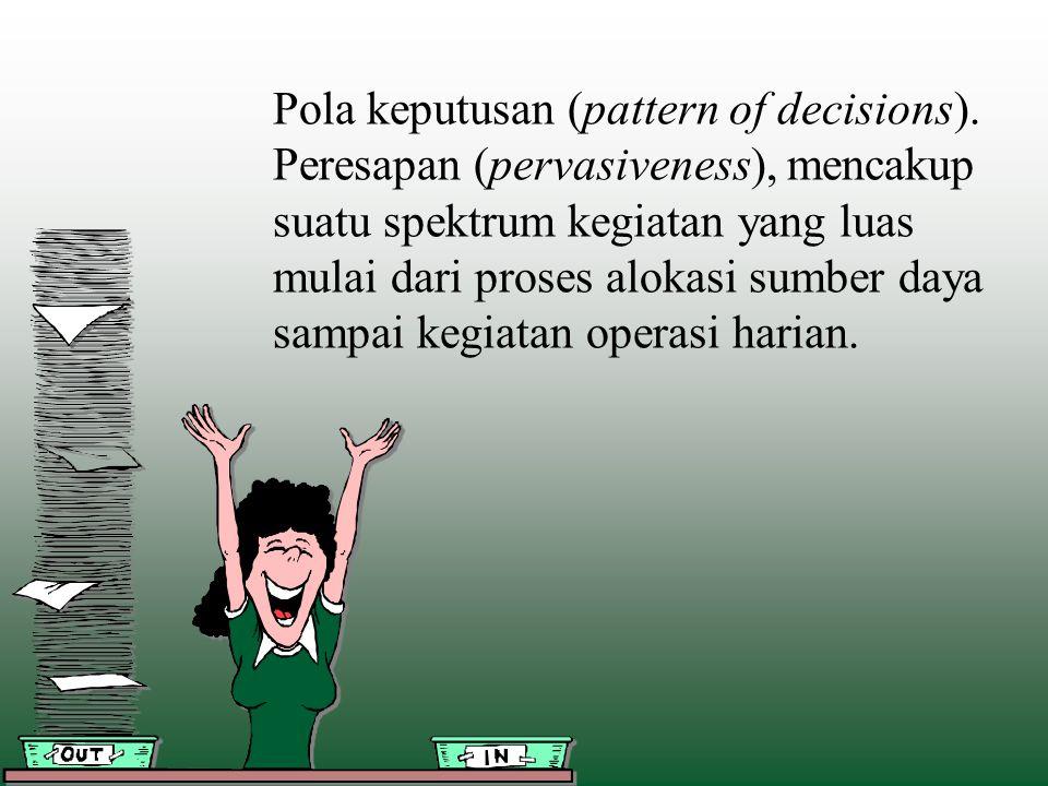 Pola keputusan (pattern of decisions). Peresapan (pervasiveness), mencakup suatu spektrum kegiatan yang luas mulai dari proses alokasi sumber daya sam