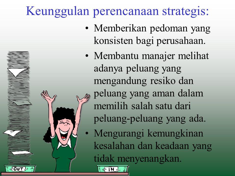 Keunggulan perencanaan strategis: Memberikan pedoman yang konsisten bagi perusahaan. Membantu manajer melihat adanya peluang yang mengandung resiko da