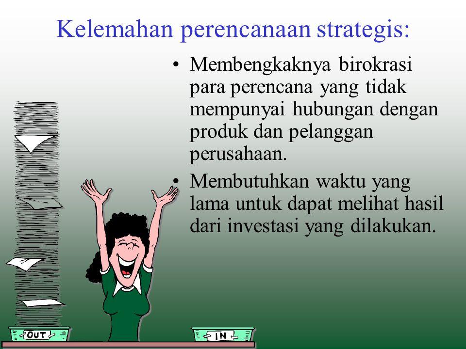 Kelemahan perencanaan strategis: Membengkaknya birokrasi para perencana yang tidak mempunyai hubungan dengan produk dan pelanggan perusahaan. Membutuh