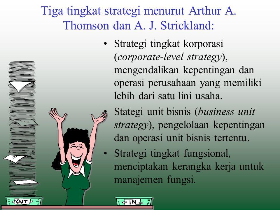 Tiga tingkat strategi menurut Arthur A. Thomson dan A. J. Strickland: Strategi tingkat korporasi (corporate-level strategy), mengendalikan kepentingan