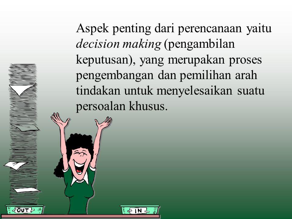 Aspek penting dari perencanaan yaitu decision making (pengambilan keputusan), yang merupakan proses pengembangan dan pemilihan arah tindakan untuk men