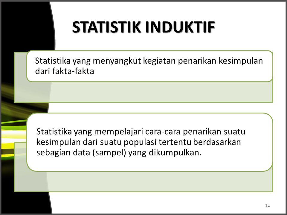 STATISTIK INDUKTIF Statistika yang menyangkut kegiatan penarikan kesimpulan dari fakta-fakta Statistika yang mempelajari cara-cara penarikan suatu kes