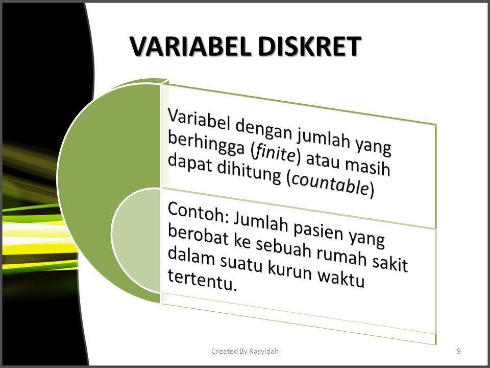 VARIABEL DISKRET Created By Rasyidah9