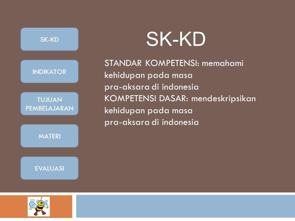 SK-KD STANDAR KOMPETENSI: memahami kehidupan pada masa pra-aksara di indonesia KOMPETENSI DASAR: mendeskripsikan kehidupan pada masa pra-aksara di indonesia SK-KD INDIKATOR TUJUAN PEMBELAJARAN MATERI EVALUASI