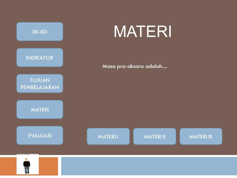 MATERI MATERI IMATERI IIMATERI III Masa pra-aksara adalah....