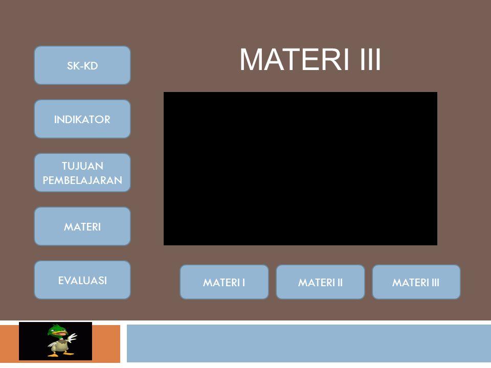 MATERI III MATERI IMATERI IIMATERI III SK-KD INDIKATOR TUJUAN PEMBELAJARAN MATERI EVALUASI