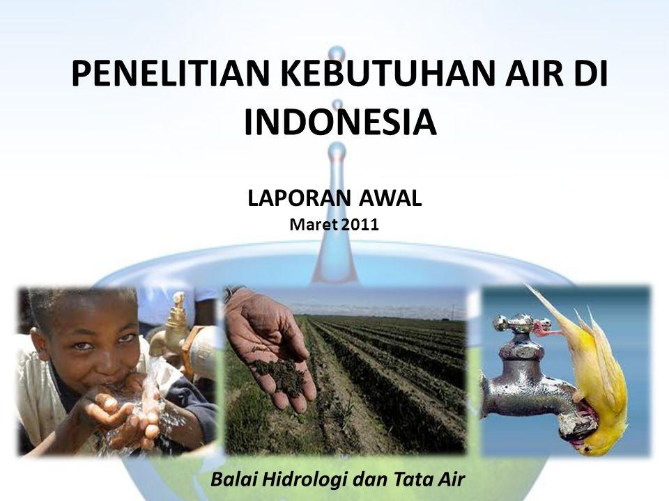 LATAR BELAKANG – pengelolaan sumber daya air terpadu memerlukan informasi ketersediaan air pada seluruh wilayah sungai di Indonesia – Kondisi informasi sumberdaya air nasional FIDEP 1993, 90 sws, lengkap Ditjen SDA 2003, 90 sws, PusSDA 2006: Jawa, Sumatera Data mutakhir 133 Wilayah Sungai se Indonesia.