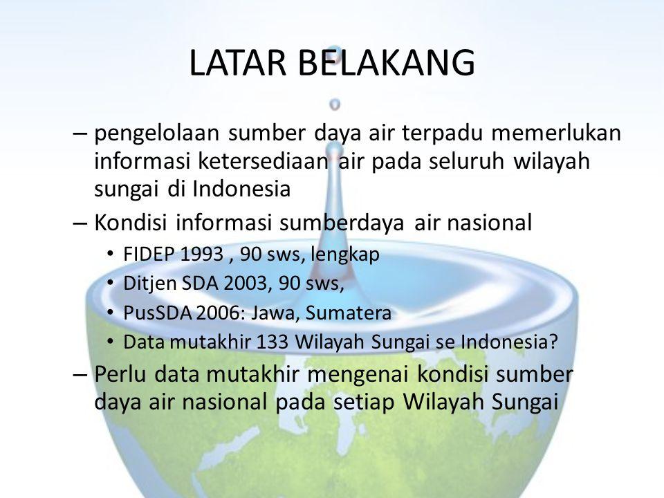 LATAR BELAKANG – pengelolaan sumber daya air terpadu memerlukan informasi ketersediaan air pada seluruh wilayah sungai di Indonesia – Kondisi informas