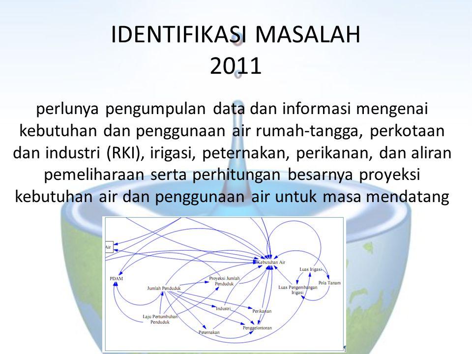 IDENTIFIKASI MASALAH 2011 perlunya pengumpulan data dan informasi mengenai kebutuhan dan penggunaan air rumah-tangga, perkotaan dan industri (RKI), ir
