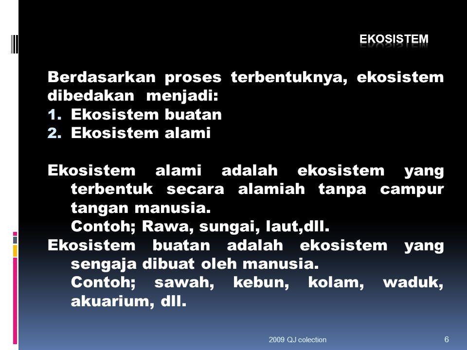 Berdasarkan proses terbentuknya, ekosistem dibedakan menjadi: 1. Ekosistem buatan 2. Ekosistem alami Ekosistem alami adalah ekosistem yang terbentuk s