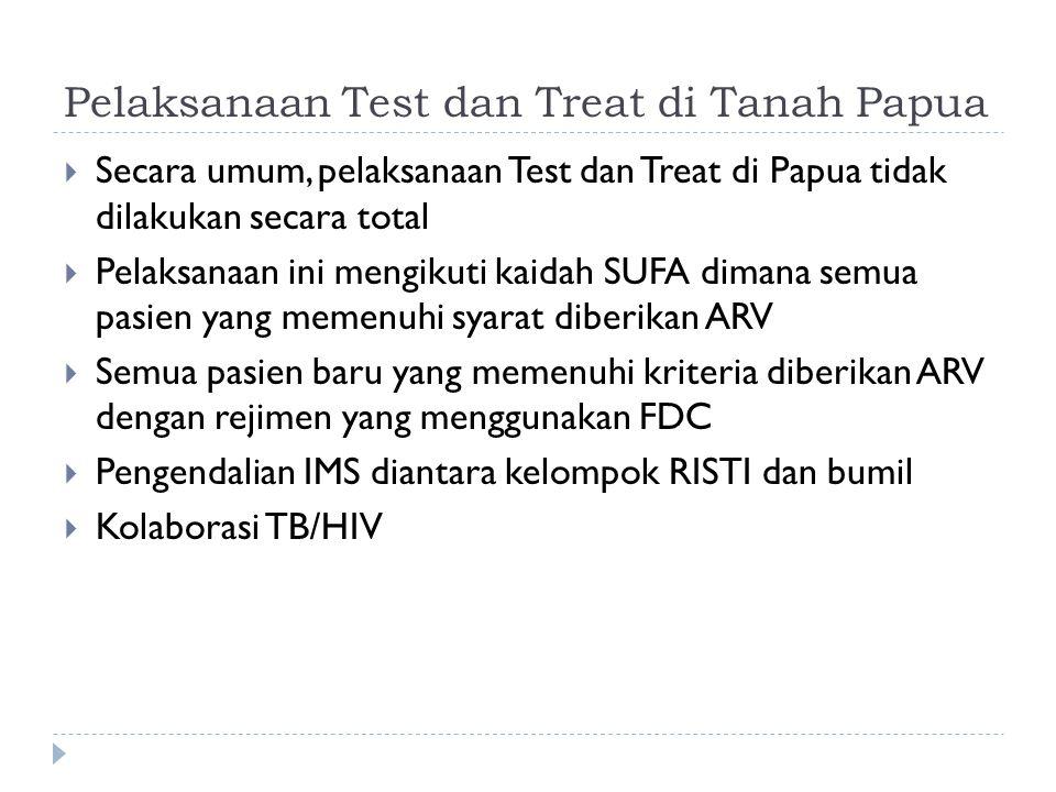 Pelaksanaan Test dan Treat di Tanah Papua  Secara umum, pelaksanaan Test dan Treat di Papua tidak dilakukan secara total  Pelaksanaan ini mengikuti kaidah SUFA dimana semua pasien yang memenuhi syarat diberikan ARV  Semua pasien baru yang memenuhi kriteria diberikan ARV dengan rejimen yang menggunakan FDC  Pengendalian IMS diantara kelompok RISTI dan bumil  Kolaborasi TB/HIV