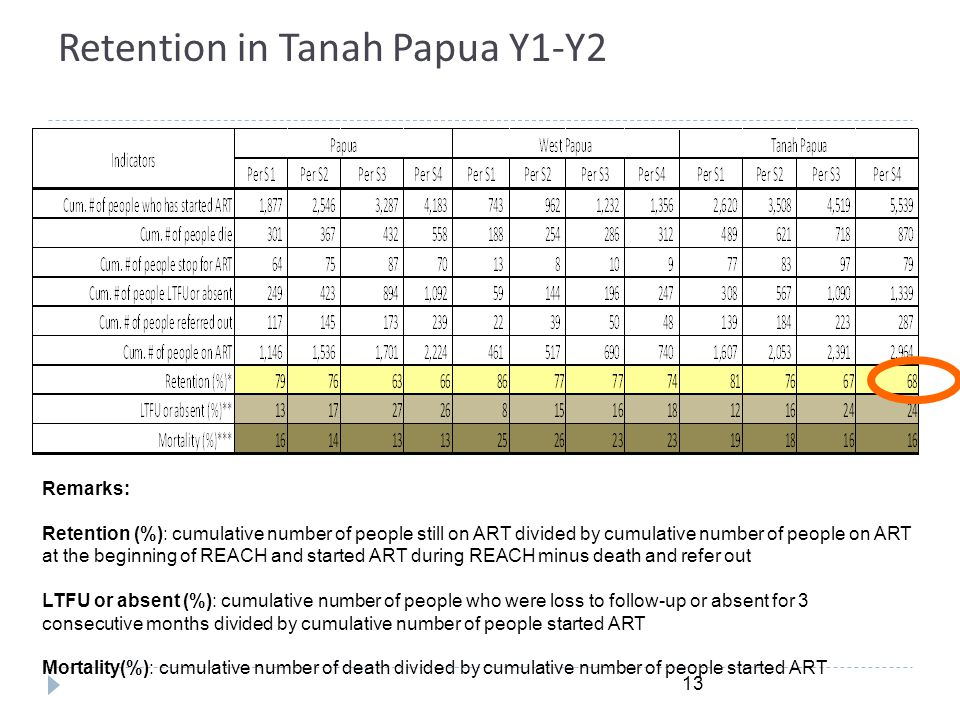 Retention in Tanah Papua Y1-Y2 13 Remarks: Retention (%): cumulative number of people still on ART divided by cumulative number of people on ART at th