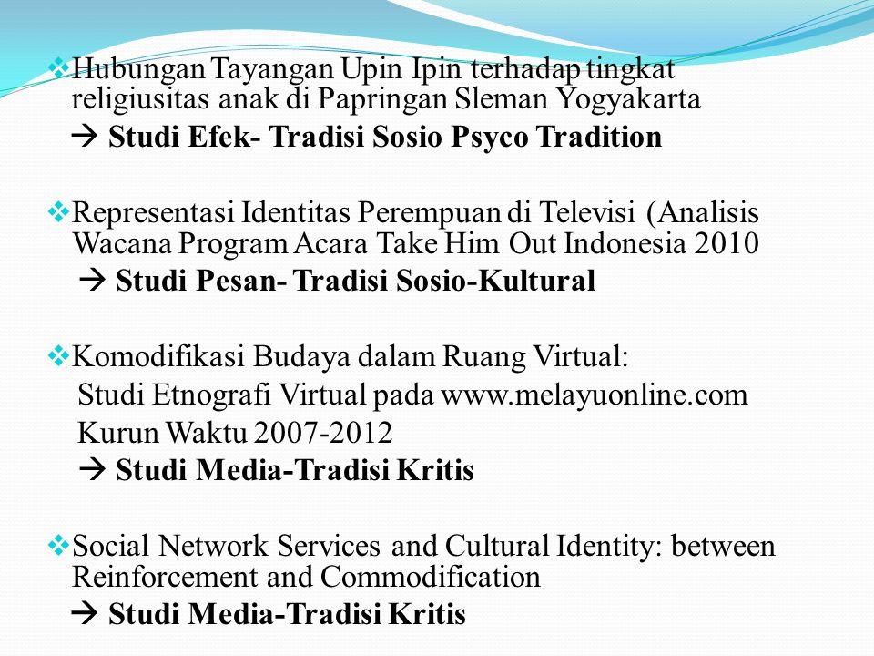 PERKEMBANGAN PENELITIAN KOMUNIKASI KINI Penggabungan pendekatan KUALITATIF & KUANTITATIF (Multiple Research Strategis/ Multiple Method/ Double Method) Penelitian tentang tema-tema : new media, komunikasi antar budaya...