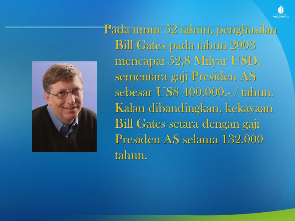 Pada umur 52 tahun, penghasilan Bill Gates pada tahun 2003 mencapai 52,8 Milyar USD, sementara gaji Presiden AS sebesar US$ 400.000,- / tahun. Kalau d