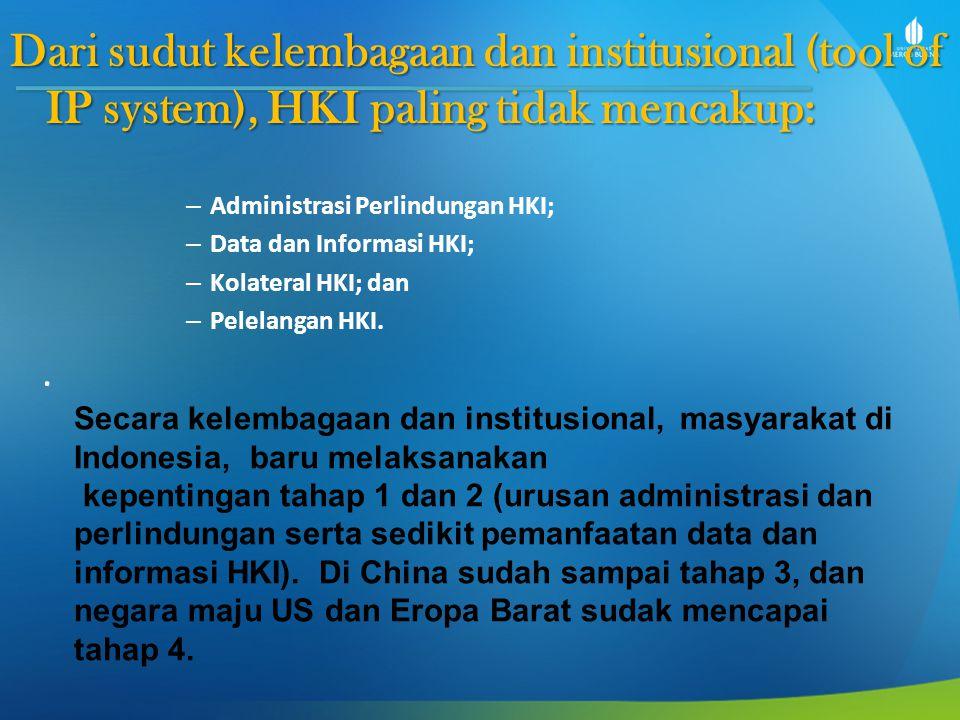 Dari sudut kelembagaan dan institusional (tool of IP system), HKI paling tidak mencakup: – Administrasi Perlindungan HKI; – Data dan Informasi HKI; –