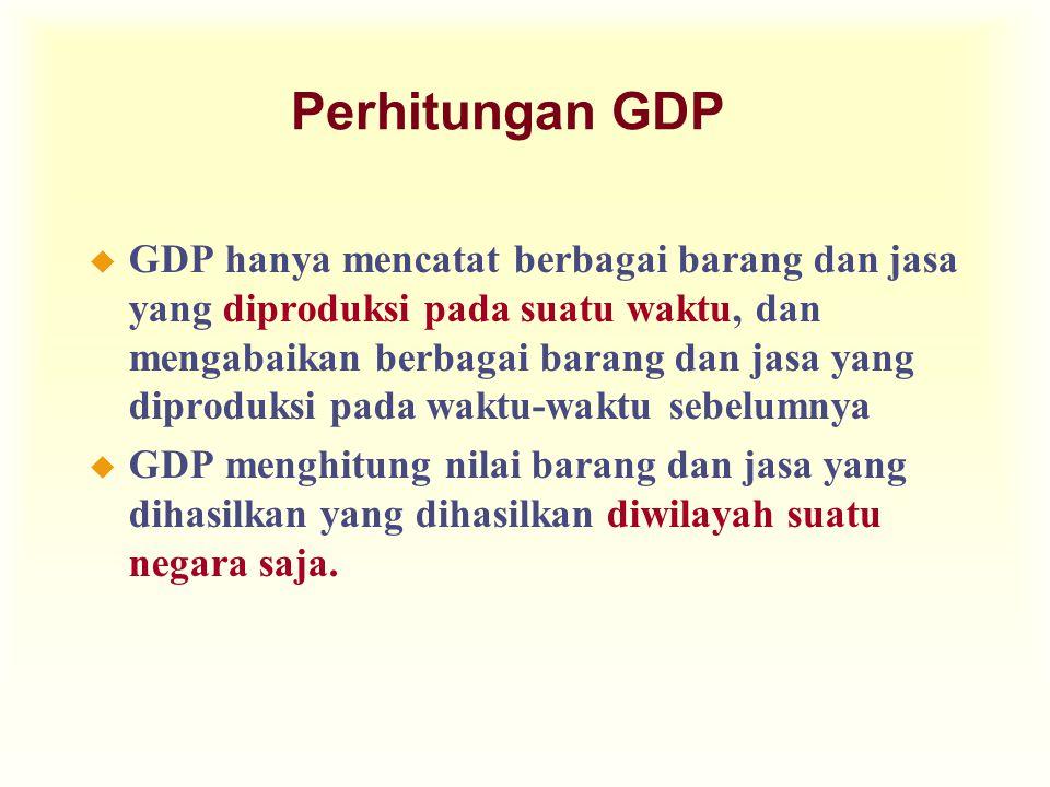 Perhitungan GDP u GDP hanya mencatat berbagai barang dan jasa yang diproduksi pada suatu waktu, dan mengabaikan berbagai barang dan jasa yang diproduksi pada waktu-waktu sebelumnya u GDP menghitung nilai barang dan jasa yang dihasilkan yang dihasilkan diwilayah suatu negara saja.