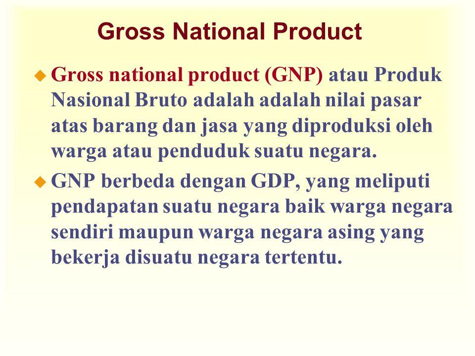 Gross National Product u Gross national product (GNP) atau Produk Nasional Bruto adalah adalah nilai pasar atas barang dan jasa yang diproduksi oleh warga atau penduduk suatu negara.