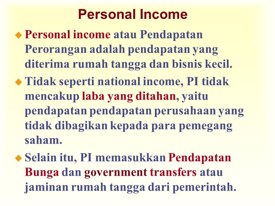Personal Income u Personal income atau Pendapatan Perorangan adalah pendapatan yang diterima rumah tangga dan bisnis kecil. u Tidak seperti national i