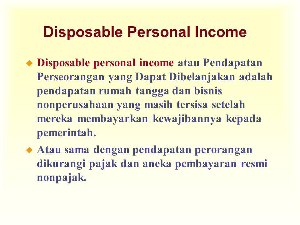 Disposable Personal Income u Disposable personal income atau Pendapatan Perseorangan yang Dapat Dibelanjakan adalah pendapatan rumah tangga dan bisnis nonperusahaan yang masih tersisa setelah mereka membayarkan kewajibannya kepada pemerintah.