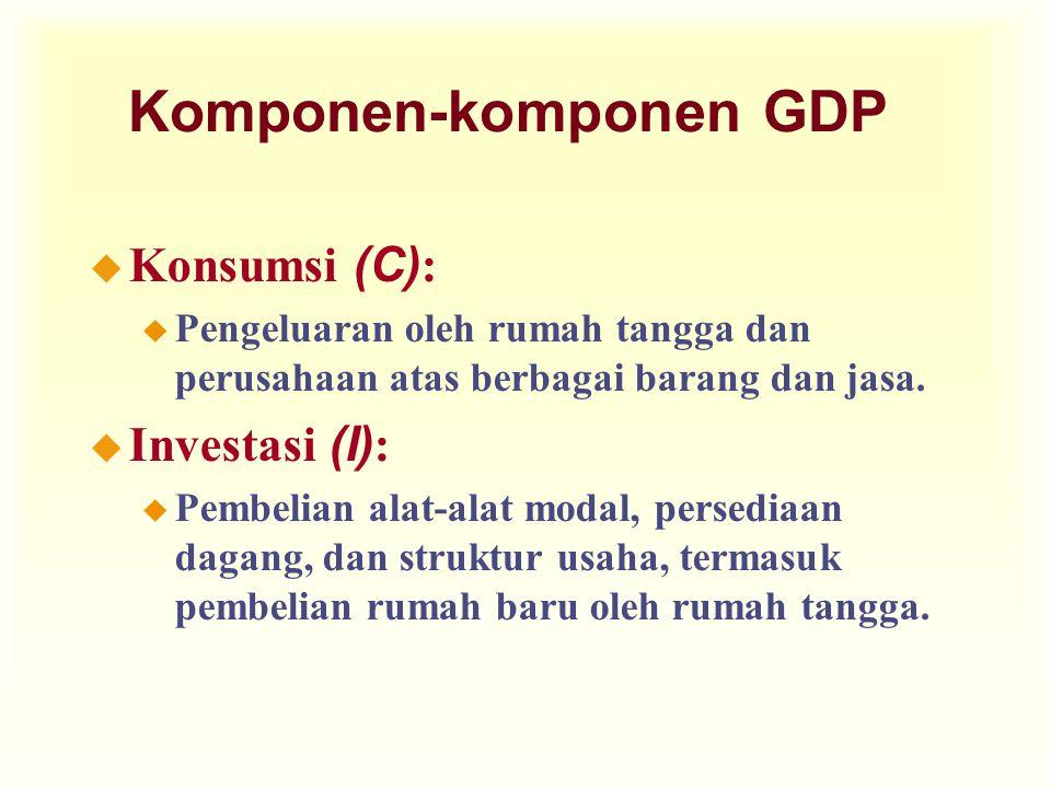 Komponen-komponen GDP  Konsumsi (C) : u Pengeluaran oleh rumah tangga dan perusahaan atas berbagai barang dan jasa.