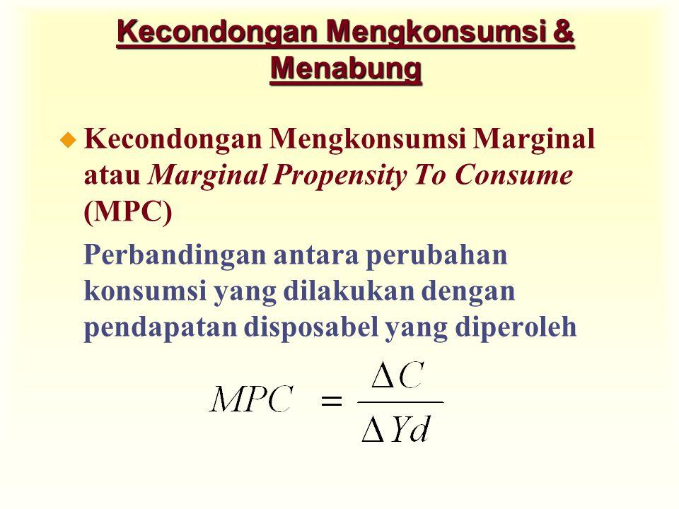 Kecondongan Mengkonsumsi & Menabung u Kecondongan Mengkonsumsi Marginal atau Marginal Propensity To Consume (MPC) Perbandingan antara perubahan konsumsi yang dilakukan dengan pendapatan disposabel yang diperoleh
