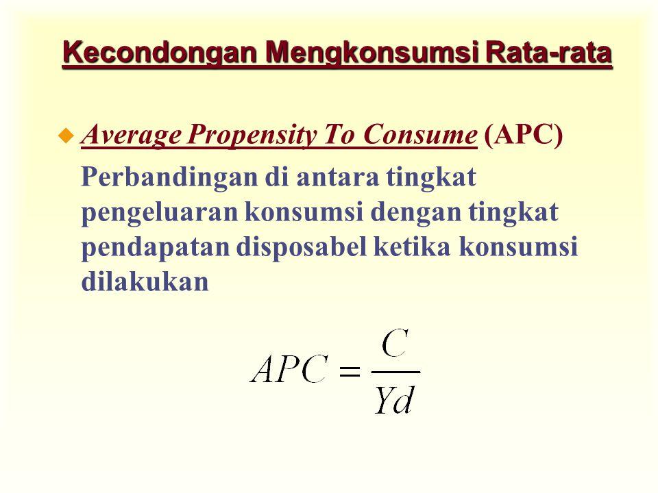 Kecondongan Mengkonsumsi Rata-rata u Average Propensity To Consume (APC) Perbandingan di antara tingkat pengeluaran konsumsi dengan tingkat pendapatan disposabel ketika konsumsi dilakukan