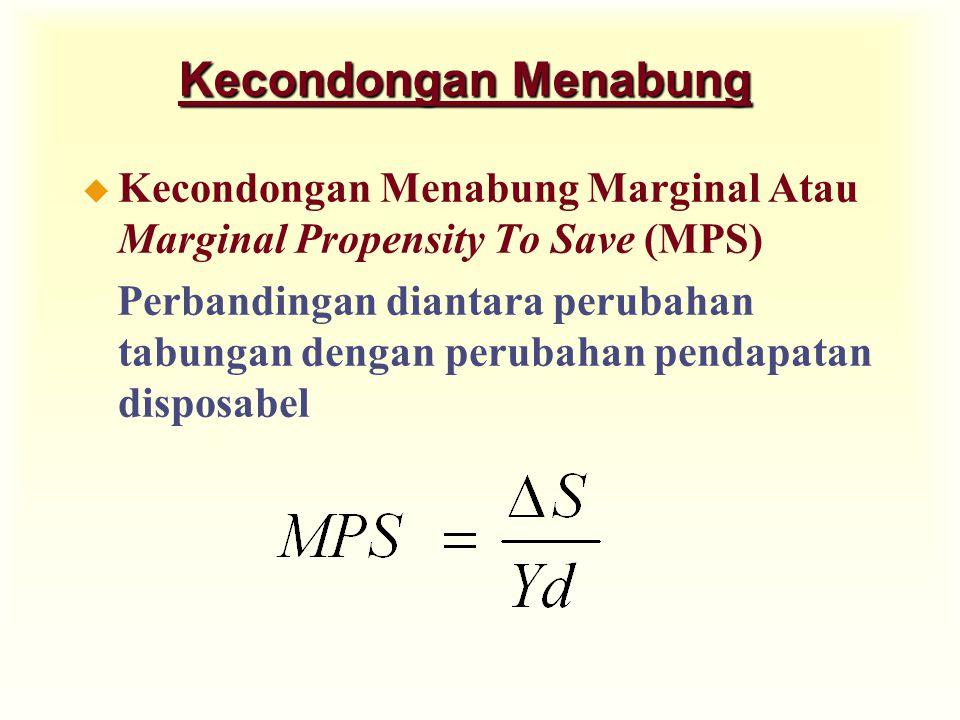 Kecondongan Menabung u Kecondongan Menabung Marginal Atau Marginal Propensity To Save (MPS) Perbandingan diantara perubahan tabungan dengan perubahan pendapatan disposabel