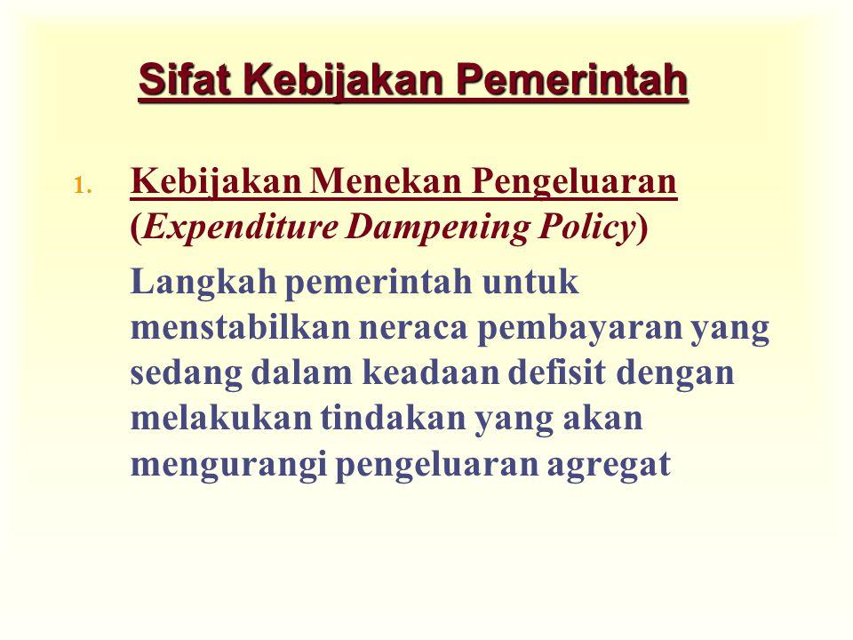 Sifat Kebijakan Pemerintah 1. Kebijakan Menekan Pengeluaran (Expenditure Dampening Policy) Langkah pemerintah untuk menstabilkan neraca pembayaran yan