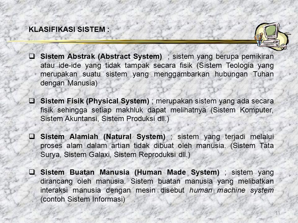 11 KLASIFIKASI SISTEM :  Sistem Abstrak (Abstract System) ; sistem yang berupa pemikiran atau ide-ide yang tidak tampak secara fisik (Sistem Teologia
