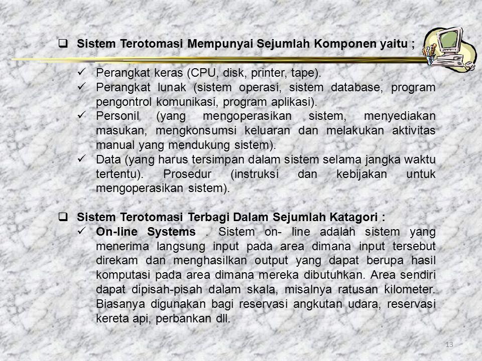 13  Sistem Terotomasi Mempunyai Sejumlah Komponen yaitu ; Perangkat keras (CPU, disk, printer, tape). Perangkat lunak (sistem operasi, sistem databas
