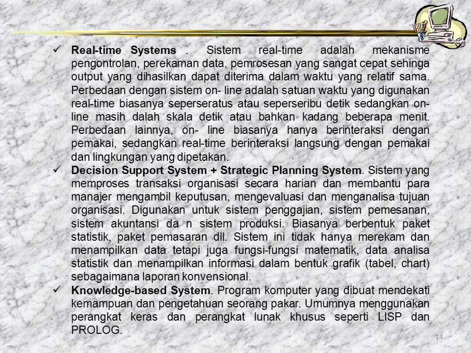 14 Real-time Systems. Sistem real-time adalah mekanisme pengontrolan, perekaman data, pemrosesan yang sangat cepat sehinga output yang dihasilkan dapa