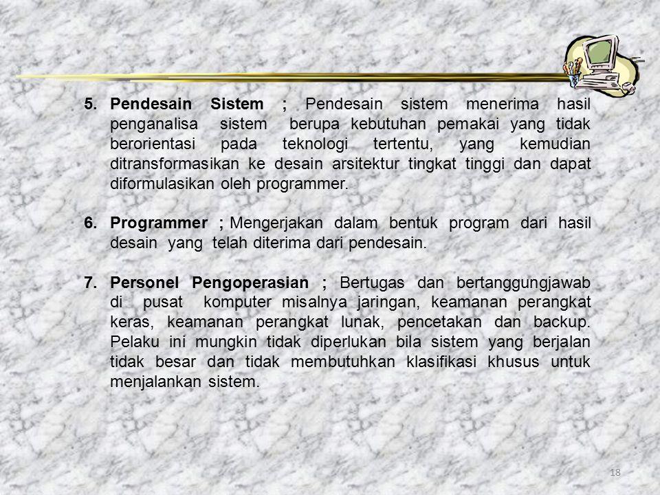 18 5.Pendesain Sistem ; Pendesain sistem menerima hasil penganalisa sistem berupa kebutuhan pemakai yang tidak berorientasi pada teknologi tertentu, y